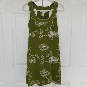 Max Studio cotton sun dress, green white embroider